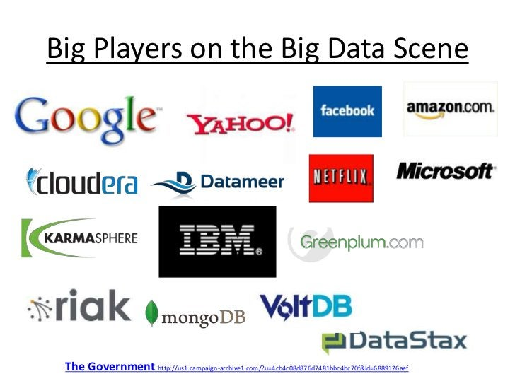 Big Players on the Big Data Scene<br />The Government http://us1.campaign-archive1.com/?u=4cb4c08d876d7481bbc4bc70f&id=688...