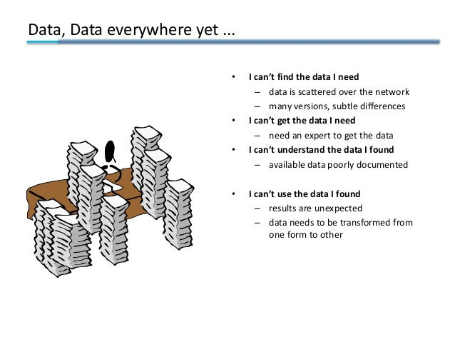 Data, Data everywhere yet ... • I can't find the data I need – data is scattered over the network – many versions, subtle ...