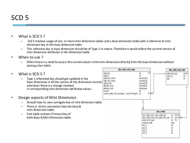 SCD 5 • What is SCD 5 ? – Scd 5 involves usage of one or more mini dimension tables and a base dimension table with a refe...