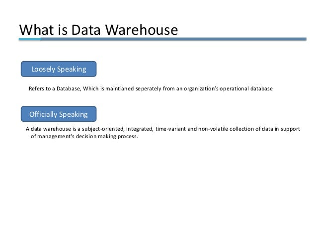 s Refers to a Database, Which is maintianed seperately from an organization's operational database A data warehouse is a s...