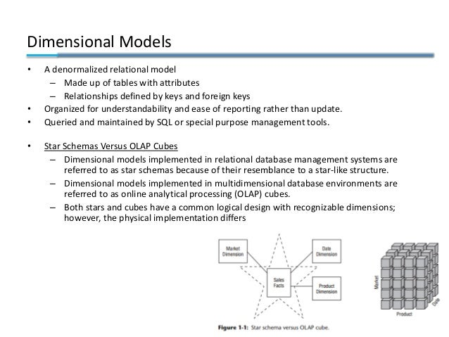 Dimensional Models • A denormalized relational model – Made up of tables with attributes – Relationships defined by keys a...