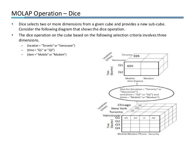 MOLAP Operation – Dice • Dice selects two or more dimensions from a given cube and provides a new sub-cube. Consider the f...
