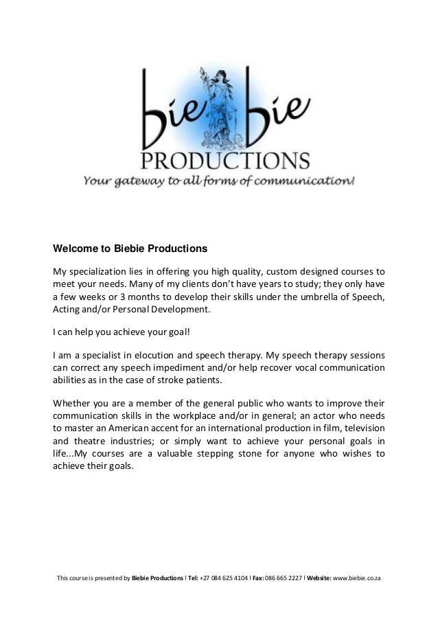 Welcome to Biebie Productions My specialization lies in offering you high quality, custom designed courses to meet your ne...