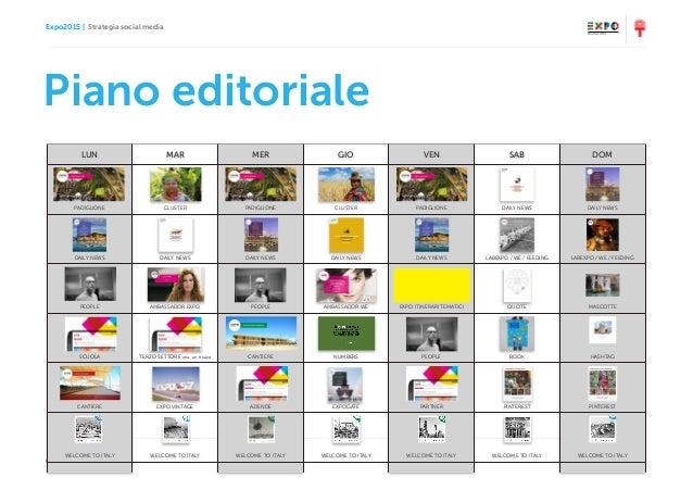 Expo2015   Strategia social media Ottobre 2014   Milano 14 Piano editoriale LUN MAR MER GIO VEN SAB DOM PADIGLIONE CLUSTER...