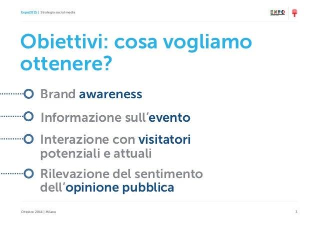 Expo2015   Strategia social media Ottobre 2014   Milano 3 Obiettivi: cosa vogliamo ottenere? Brand awareness Informazione ...