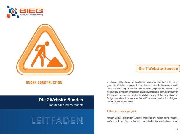 Die 7 Website-Sünden    UNDER CONSTRUCTION                         Im Internet gibt es für den ersten Eindruck keine zweit...