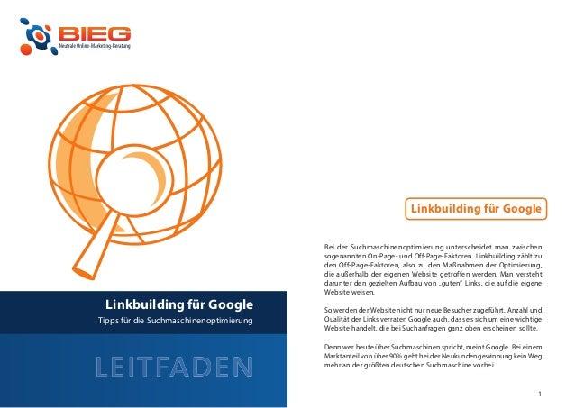 Linkbuilding für Google                                             Bei der Suchmaschinenoptimierung unterscheidet man zwi...