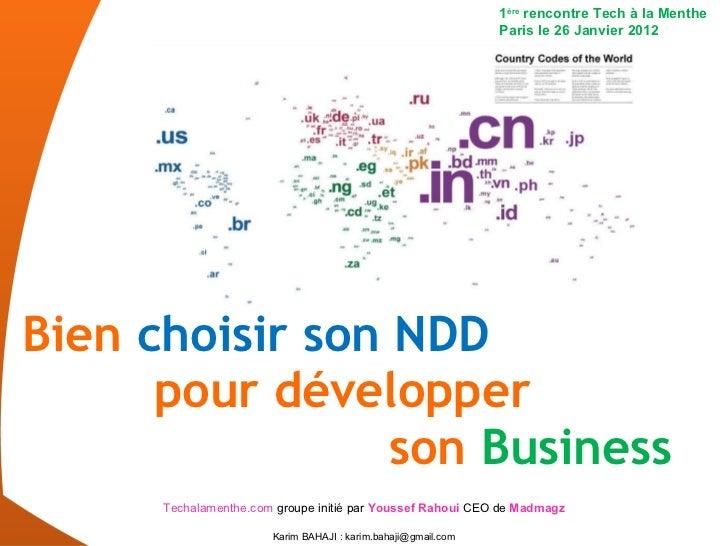 Bien  choisir son NDD   pour développer    son  Business 1 ère  rencontre Tech à la Menthe Paris le 26 Janvier 2012 Techal...