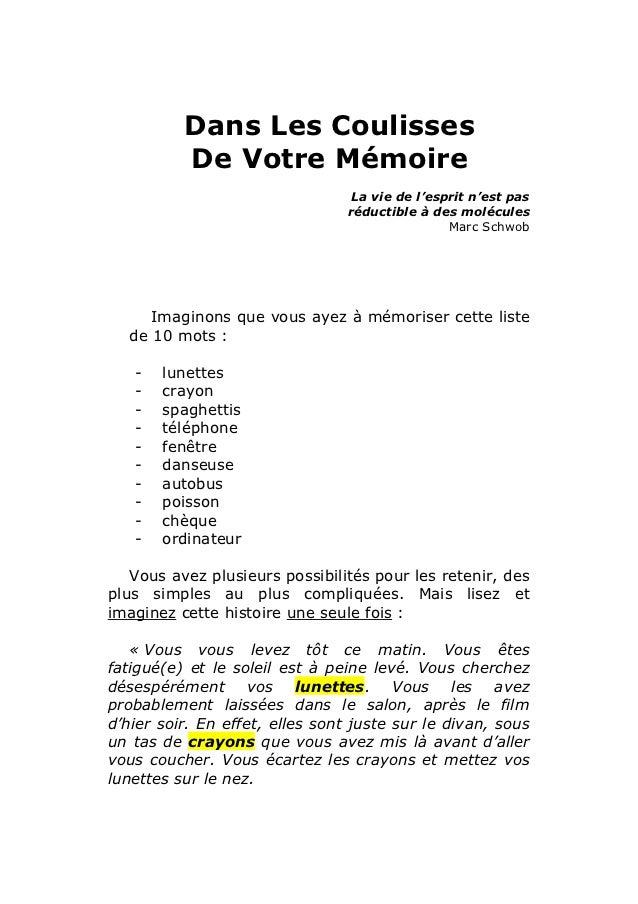 Dans Les Coulisses          De Votre Mémoire                                 La vie de l'esprit n'est pas                 ...