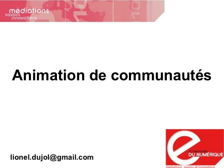 Animation de communautés [email_address]