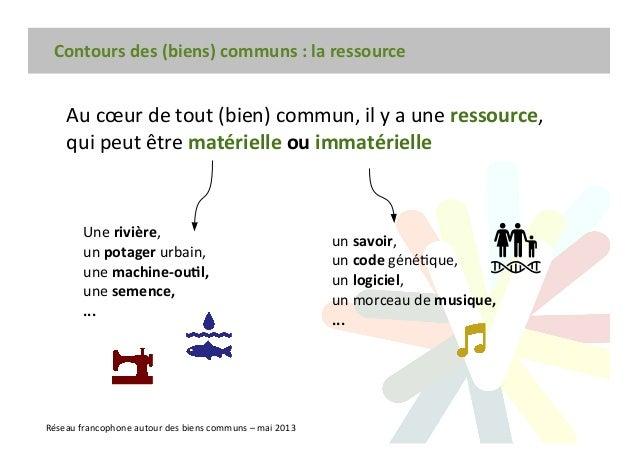 Contours des (biens) communs : la ressource Réseau francophone autour des biens communs – mai 2013 Au cœur de tout (bien) ...