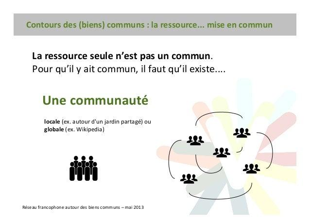 Contours des (biens) communs : la ressource... mise en commun Réseau francophone autour des biens communs – mai 2013 La re...
