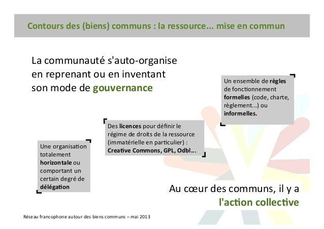Contours des (biens) communs : la ressource... mise en commun Réseau francophone autour des biens communs – mai 2013 La co...