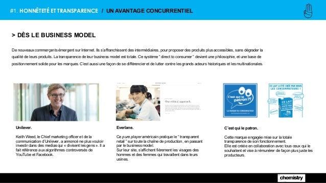 #1. HONNÊTETÉ ET TRANSPARENCE / UN AVANTAGE CONCURRENTIEL > DÈS LE BUSINESS MODEL De nouveaux commerçants émergent sur Int...