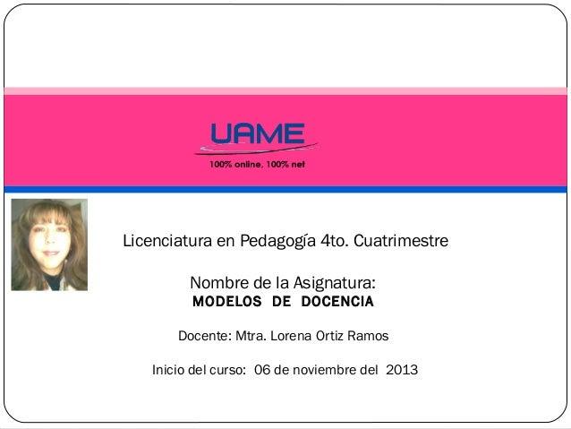 Licenciatura en Pedagogía 4to. Cuatrimestre Nombre de la Asignatura: MODELOS DE DOCENCIA Docente: Mtra. Lorena Ortiz Ramos...