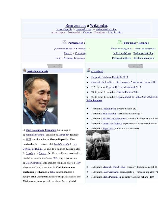 Bienvenidos a Wikipedia, la enciclopedia de contenido libre que todos pueden editar. Acceso seguro Acceso móvil Contacto D...