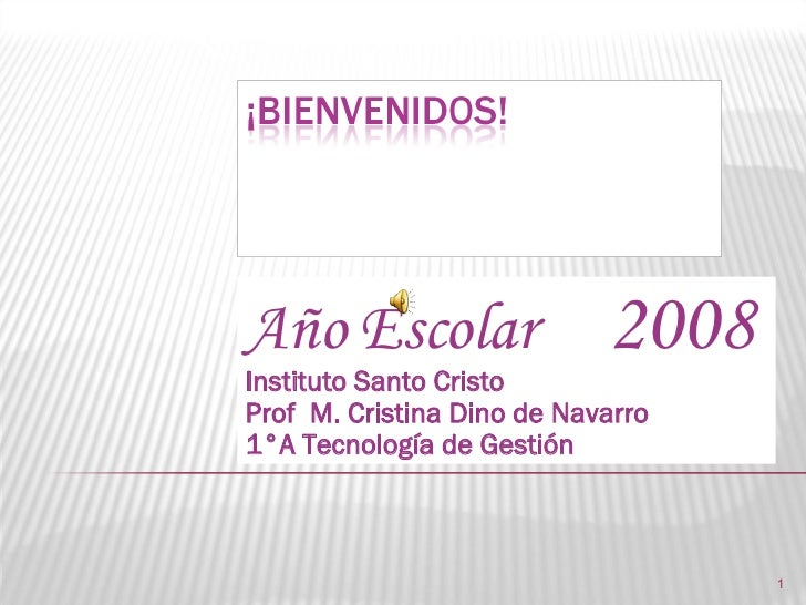 Año Escolar  2008 Instituto Santo Cristo Prof  M. Cristina Dino de Navarro 1°A Tecnología de Gestión