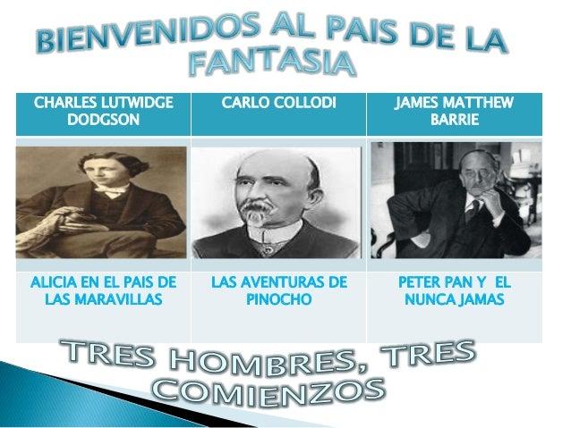 CHARLES LUTWIDGE DODGSON CARLO COLLODI JAMES MATTHEW BARRIE ALICIA EN EL PAIS DE LAS MARAVILLAS LAS AVENTURAS DE PINOCHO P...
