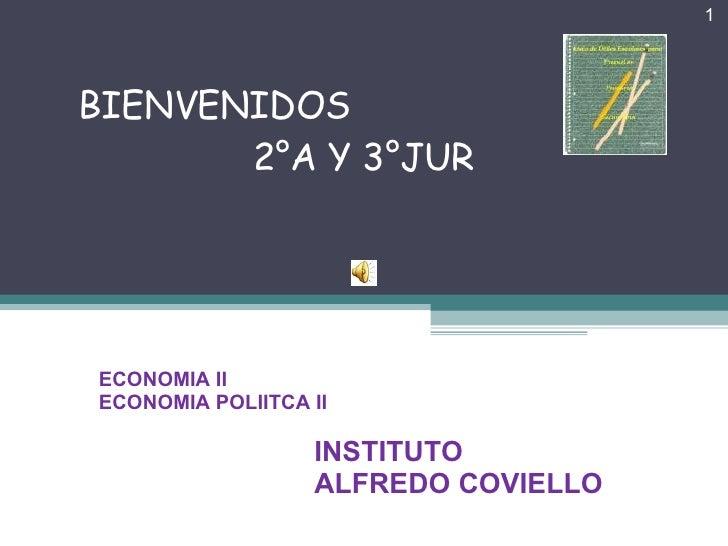 BIENVENIDOS    2°A Y 3°JUR AÑO ESCOLAR  2007 IES ALFREDO COVIELLO ECONOMIA II  ECONOMIA POLIITCA II INSTITUTO ALFREDO COVI...