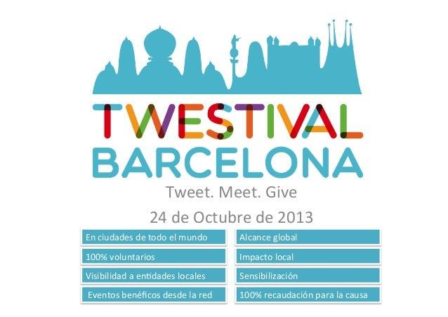 Tweet.  Meet.  Give   24  de  Octubre  de  2013   En  ciudades  de  todo  el  mundo   100%  ...