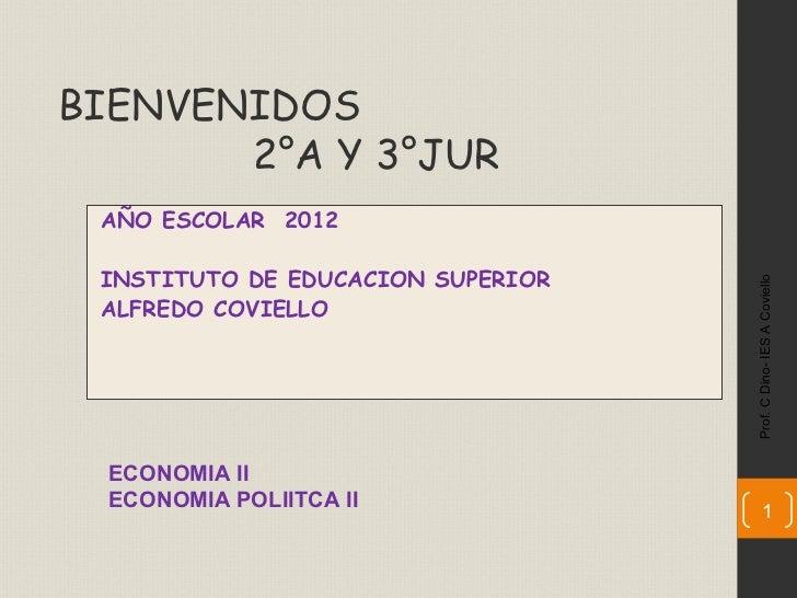 BIENVENIDOS       2°A Y 3°JUR AÑO ESCOLAR 2012 INSTITUTO DE EDUCACION SUPERIOR                                   Prof. C D...
