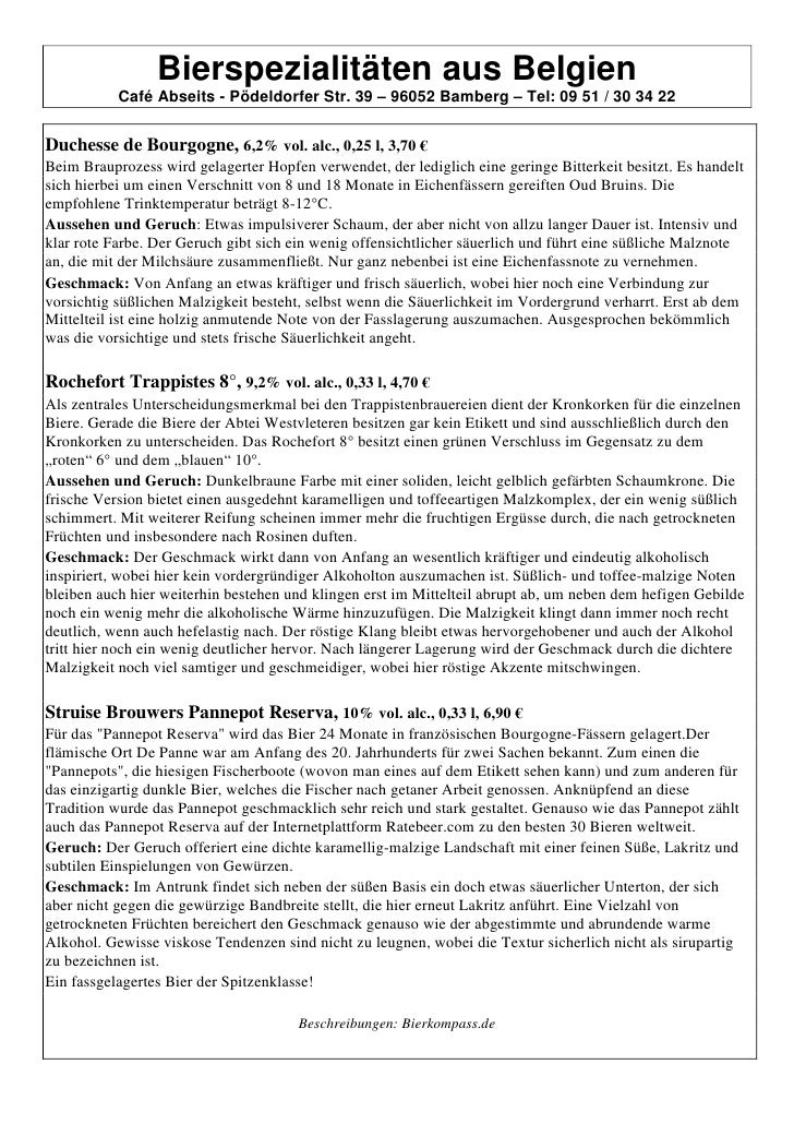 Bierspezialitäten aus Belgien           Café Abseits - Pödeldorfer Str. 39 – 96052 Bamberg – Tel: 09 51 / 30 34 22Duchesse...