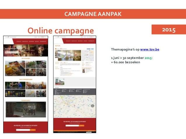 Online campagne CAMPAGNE AANPAK Themapagina's op www.tov.be Integratie reca 200 streekbiercafés 2015