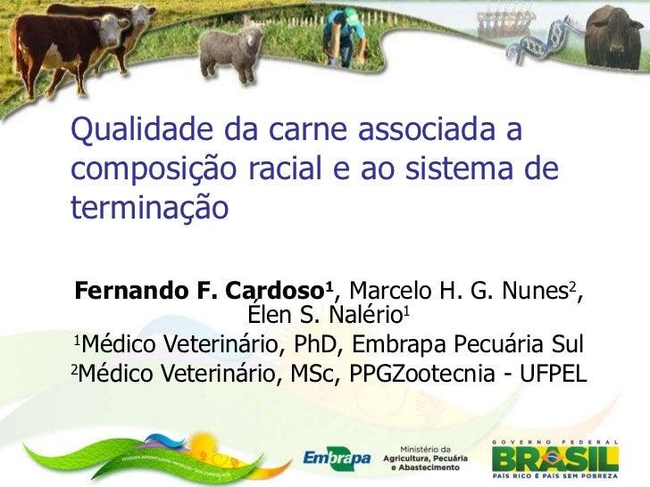 Fernando F. Cardoso 1 , Marcelo H. G. Nunes 2 , Élen S. Nalério 1 1 Médico Veterinário, PhD, Embrapa Pecuária Sul 2 Médico...