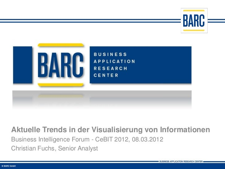 Aktuelle Trends in der Visualisierung von InformationenBusiness Intelligence Forum - CeBIT 2012, 08.03.2012Christian Fuchs...