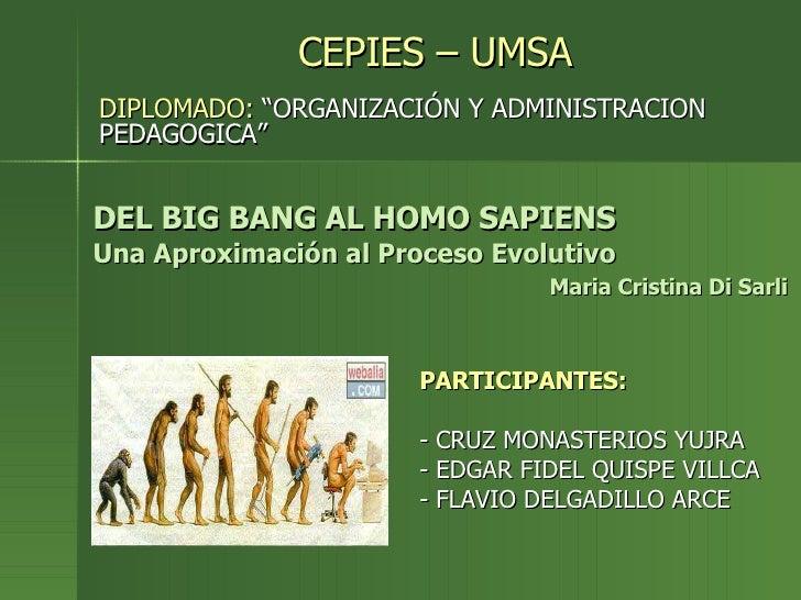 DEL BIG BANG AL HOMO SAPIENS Una Aproximación al Proceso Evolutivo   Maria Cristina Di Sarli <ul><li>CEPIES – UMSA </li></...