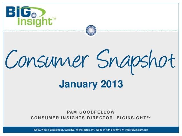 Consumer Snapshot                        January 2013             PA M G O O D F E L L O W  CONSUMER INSIGHTS DIRECTOR, BI...