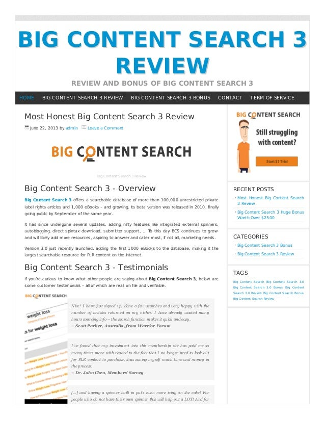 BIG CONTENT SEARCH 3BIG CONTENT SEARCH 3REVIEWREVIEWREVIEW AND BONUS OF BIG CONTENT SEARCH 3Most Honest Big Content Search...