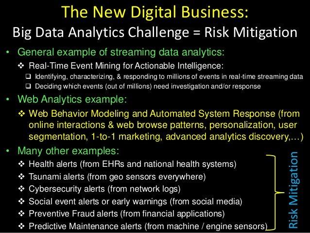 The New Digital Business: Big Data Analytics Challenge = Risk Mitigation • General example of streaming data analytics:  ...