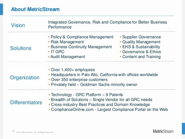 39 © 2015 MetricStream, Inc. All Rights Reserved. About MetricStream Vision Integrated Governance, Risk and Compliance for...