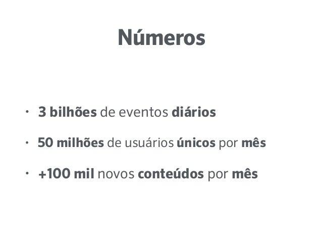 Números • 3 bilhões de eventos diários • 50 milhões de usuários únicos por mês • +100 mil novos conteúdos por mês