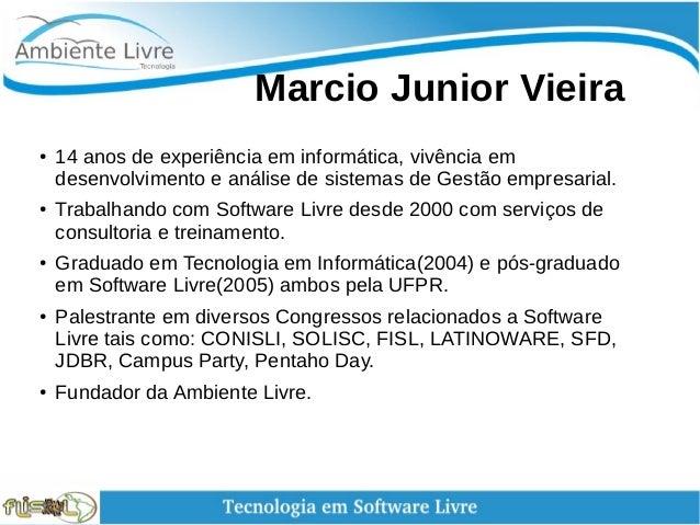 Marcio Junior Vieira ● 14 anos de experiência em informática, vivência em desenvolvimento e análise de sistemas de Ges...