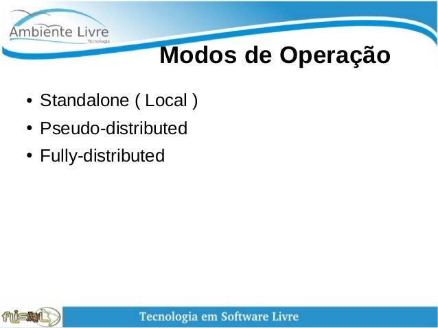 Modos de Operação ● Standalone ( Local ) ● Pseudo-distributed ● Fully-distributed