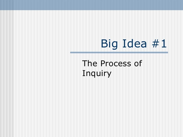 Big Idea #1 The Process of Inquiry