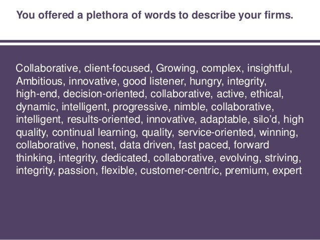 Some themes emerged from the responses. Collaborative, client-focused, Growing, complex, insightful, Ambitious, innovative...