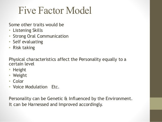 big five personality model The hexaco model of personality structure is a six-dimensional model of human personality that was created by  relations with the big five personality.