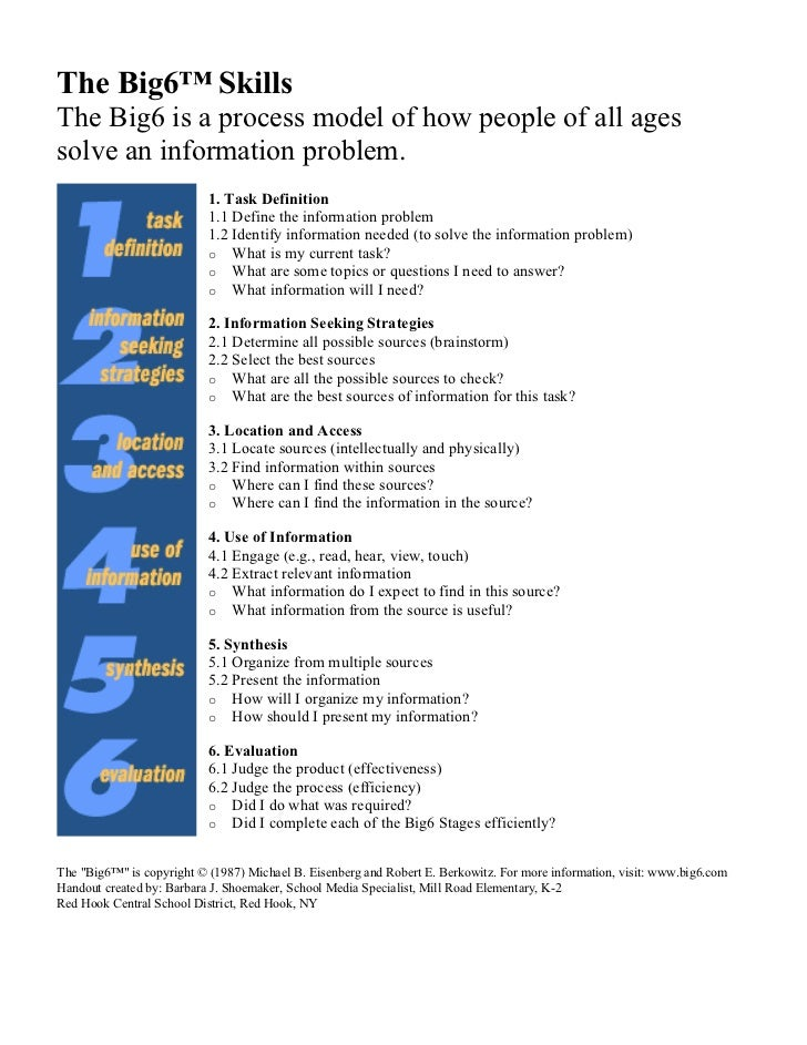 The Big6™ Skills The Big6 is a process model of how people of all ages solve an information problem.                      ...