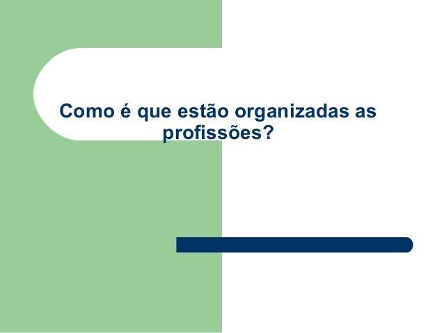 Como é que estão organizadas as         profissões?