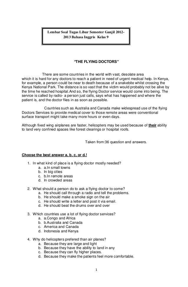 Lembar Soal Tugas Libur Semester Ganjil 2012-                        2013 Bahasa Inggris Kelas 9                          ...