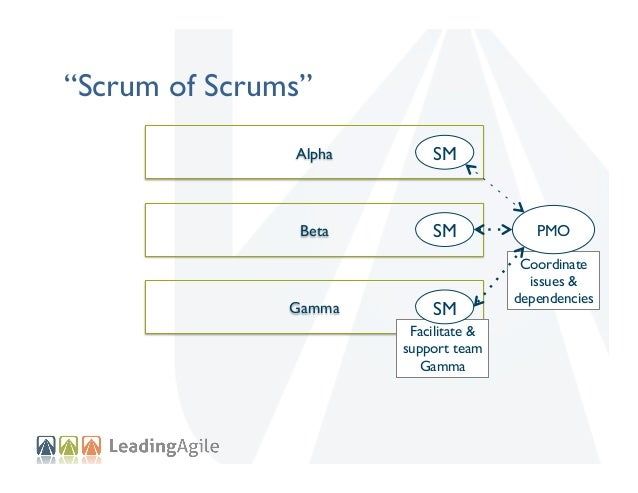 """""""Scrum of Scrums"""" Alpha    SM    Beta    SM    Gamma    SM   Facilitate & support team Gamma  PMO   Coordinate issu..."""