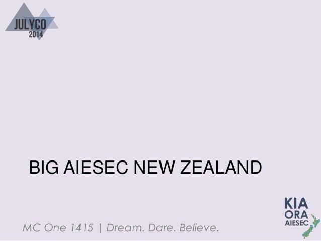 MC One 1415   Dream. Dare. Believe. BIG AIESEC NEW ZEALAND