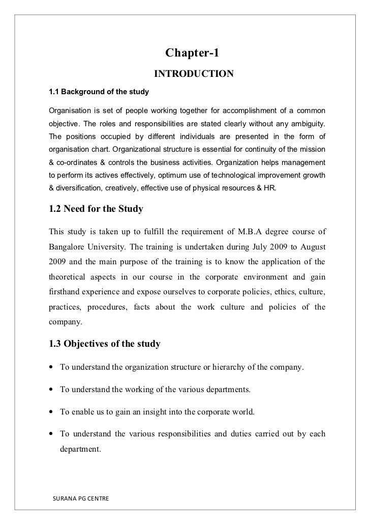 Chapter-1                                  INTRODUCTION 1.1 Background of the study  Organisation is set of people working...