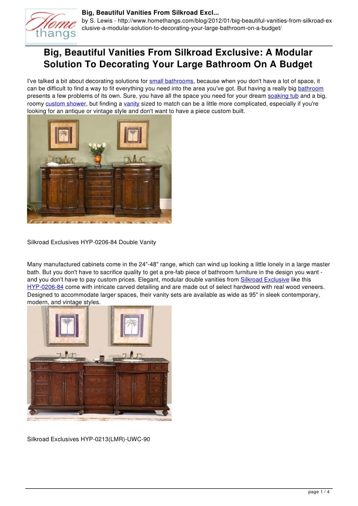 Big, Beautiful Vanities From Silkroad Excl...                     by S. Lewis - http://www.homethangs.com/blog/2012/01/big...