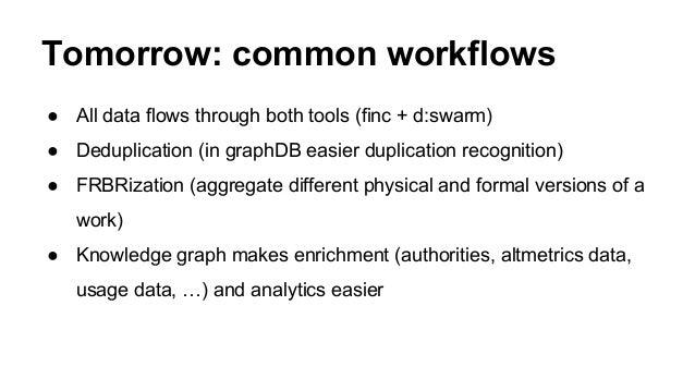 Tomorrow: common workflows ● All data flows through both tools (finc + d:swarm) ● Deduplication (in graphDB easier duplica...