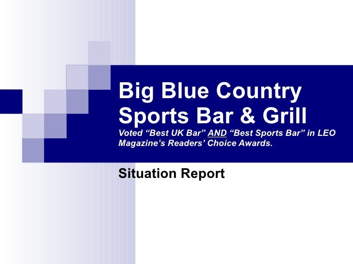 "Big Blue Country Sports Bar & Grill Voted ""Best UK Bar""  AND  ""Best Sports Bar"" in LEO Magazine's Readers' Choice Awards. ..."