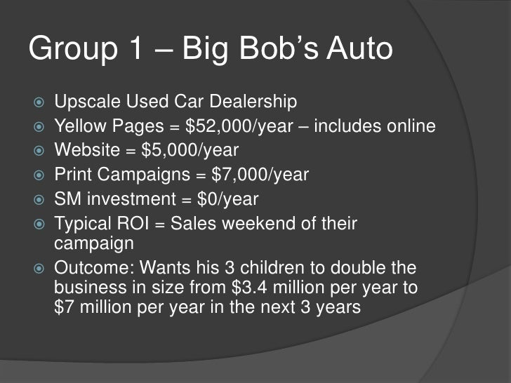 "Group 1 – Big Bob""s Auto   Upscale Used Car Dealership   Yellow Pages = $52,000/year – includes online   Website = $5,0..."